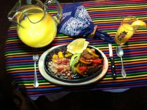 fajitas with pear, peach and orange juices