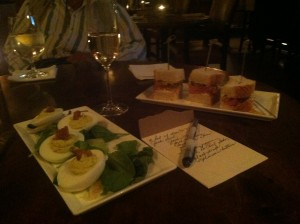Bologna Sandwich and Grandma's Deviled Eggs at the Oak Bar