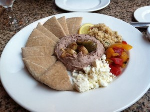 Red bean hummus plate at the Bourbon House