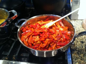red peppers with garbanzo flour and spices
