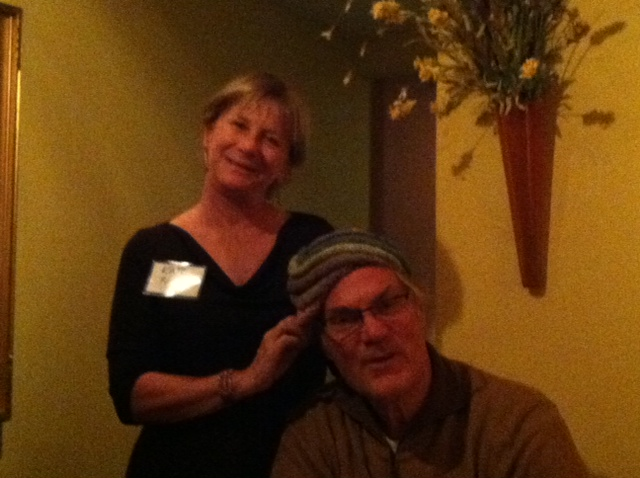 Modeling a beautiful hat from the silent auction